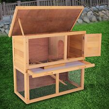 "36"" Waterproof Wood Wooden Rabbit Hutch Chicken Coop Hen House Poultry Pet Cage"