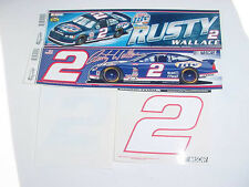 RUSTY WALLACE WinCraft  2- BUMPER STICKERS - #2 WHITE & COLOR NUMBER DECALS