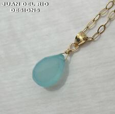 aqua Chalcedon Tropfen Ketten-Anhänger Chalzedon 585 Gold 14K GF/ygf hell-blau