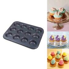 12 Cups Muffin Steel Non Stick Pan Tray Mould Icing Mold for Baking Cupcake Bun