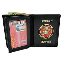 Marine Corps United States Wallet Perfect Fit Black Leather Bi-Fold with Emblem