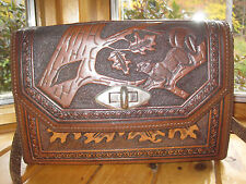 Vintage Hand Tooled Brown LEATHER Shoulder Bag PURSE Squirrel Tree Leaves