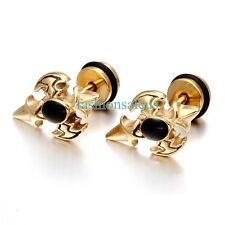 Golden Stainless Steel Boy's Men's Cross Vintage Anti-allergic Stud Earrings