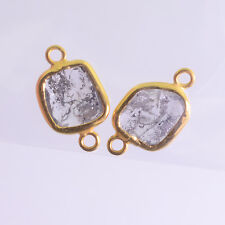 2.2CT 18K Solid Yellow Gold Rose Cut Rustic Diamond Slices Bezel Connectors PAIR