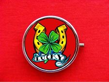 LUCKY HORSESHOE SHAMROCK 4 LEAF CLOVER CASINO ROUND METAL PILL MINT BOX CASE