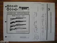 Crosman 140 147 1400 - TWO Seal Kits - Two Exploded Views + Parts List + Guide