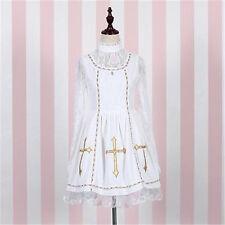 Women's Black/White Lolita Girl Princess Lace Dress Vintage Long Sleeve Dress