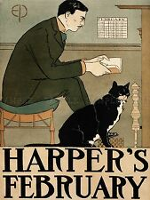 ADVERTISING MAGAZINE COVER HARPERS FASHION MAN CAT ART POSTER PRINT LV958