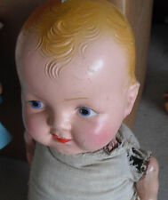 Vintage 1930s Composition Cloth Kiddie Pal Hug Me Boy Character  Doll 20""