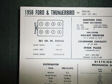 1958 Ford & Thunderbird Special 361 CI V8 SUN Tune Up Chart Great Condition!