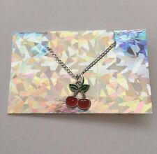 Red Cherry Chain Choker Necklace - Silver Plated - Festival Ibiza Pacha Y2K 90s