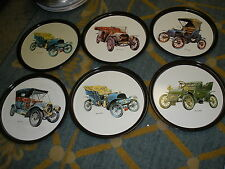 LOT OF 6 Vintage Old Car Metal Trays WELCH, CADILLAC, PEERLESS,  FRANKLIN