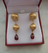 BEAUTIFUL 14K YELLOW GOLD GARNET BRIOLETTE ITALIAN EARRINGS 7.8 GR