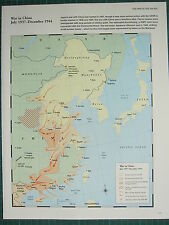 WW2 WWII MAP ~ WAR IN CHINA JUL 1937-DEC 1944 TERRITORY CHINESE ADVANCES ICHI-GO