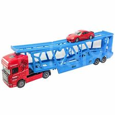 Affluent Town 1:64 Die-Cast Scania Large Carrier Trailer Truck Red Blue Model