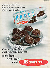 PUBLICITE ADVERTISING 035  1962  BRUN  biscuits PAPOU chocolatés
