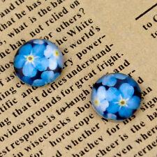 12mm Glass Cabochon Blue Flowers Photo GD52(5pcs)