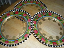 HAND PAINTED HEIRLOOM ROSES ,STRIPES AND GOLD . SET /4 9 INCH PLATE/MADE IN USA