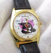 "PEPE LE PEW AND PENELOPE,""Ultra Rare White Dial"", Musical, MENS WATCH,1961,L@@K"