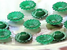 #503 Vintage Flower Beads Green 10mm Floral Bead caps spacers 9mm Layer NOS