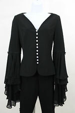 ESCADA BLACK FLOUNCY RHINESTONE EVENING COCKTAIL PARTY PANT SUIT SZ 34 US 4