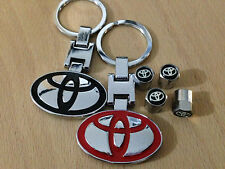 2 TOYOTA CHROME FINISH KEY RINGS AND MATCHING TYRE CAPS.AURIS YARIS RAV4 GT86