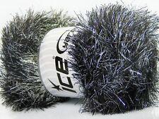 Large 100 gram skein Silver Black Eyelash Dazzle Ice Metallic Eyelash Yarn 42254