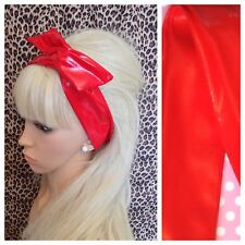NEW RED SHINY PVC WET LOOK BENDY WIRE HAIR WRAP WIRED SCARF HEADBAND RETRO 60's