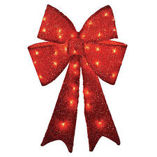 "26"" Pre-Lit Red Tinsel Bow Christmas Decoration"
