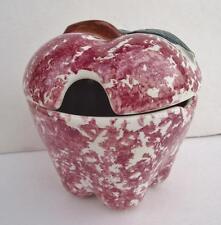 Chaparral USA Pottery Apple Red Spongeware Jam Jar California Stoneware