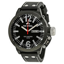 TW Steel CEO Canteen 50 MM Black Dial Black Leather Strap Mens Watch CE1032