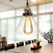 2x Modern Industrial Vintage Glass Shade Pendant Ceiling Fixture Home Lighting