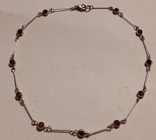 Dainty/Pretty/Silver Tone Link/Amethyst Look Glass Beads/Necklace/Chain