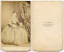 YOUNG LADY IN BEAUTIFUL LONG DRESS BY SMITH, BUTTERNUTS, N.Y., ANTIQUE CDV