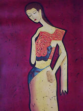 red abstract woman female large oil painting canvas modern contemporary art lady