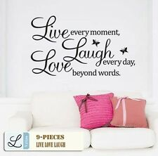 "Vinyl Decal ""Live every moment,Laugh every day,Love beyond words"" Wall Quote AU"