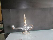 GENIE LAMP EGYPTIAN PERFUME BOTTLE AND OIL BURNER Blown pyrex Glass  5.5X6""