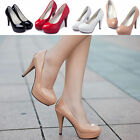 Women Patent Leather Round Toe Stiletto High Heel Pumps Working Platform Shoes