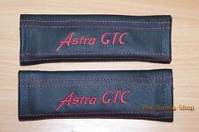 SEAT BELT COVERS PADS LEATHER EMBROIDERY ASTRA GTC red stitch for Vauxhall Opel