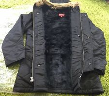 Supreme F/W 2015 Quilted Flight Satin Parka Outerwear Jacket Black Small