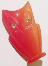 broche fantaisie bijou vintage résine moulé hibou rouge yeux strass bonheur 4306
