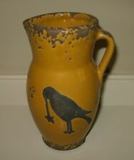 Sunflower Yellow Pottery PITCHER*Black CROW*Primitive/French Country Fall Decor