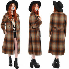 Vtg 60s 70s Wool SHADOW PLAID Grunge Mod Peacoat Princess Trench Coat Jacket L