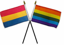 "Gay Pride Rainbow & Pansexual Flags 4""x6"" Desk Stick Table (NO BASE)"