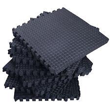 72 Sq Ft Black Foam Interlocking Exercise Protective Tile Flooring Gym Floor Mat