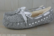 UGG DAKOTA FLORA PERF gray SHEEPSKIN LINED WOMENS SLIPPER  US 11 NIB
