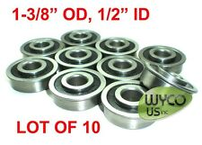 "QTY. 10, SEALED, FLANGED BEARINGS 1-3/8"" OD x 1/2"" ID, WAGONS, GO KARTS & MORE"