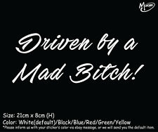 Driven by a Mad Bitch! Reflective Funny Car Truck Stickers Decals Best Presents