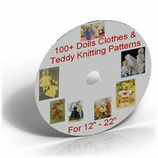 100+ Fashion Dolls Clothes & Teddy Knitting Patterns on CD,12-22 inch fit