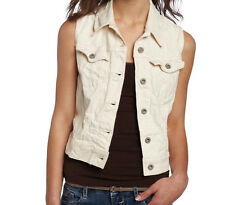 Levi's Women's Classic Fashion Trucker Slim Denim Jeans Vest, Ivory, Small
